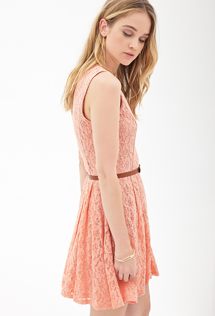 eea5d2db7c Lyst - Forever 21 Belted Crochet Lace Dress in Pink