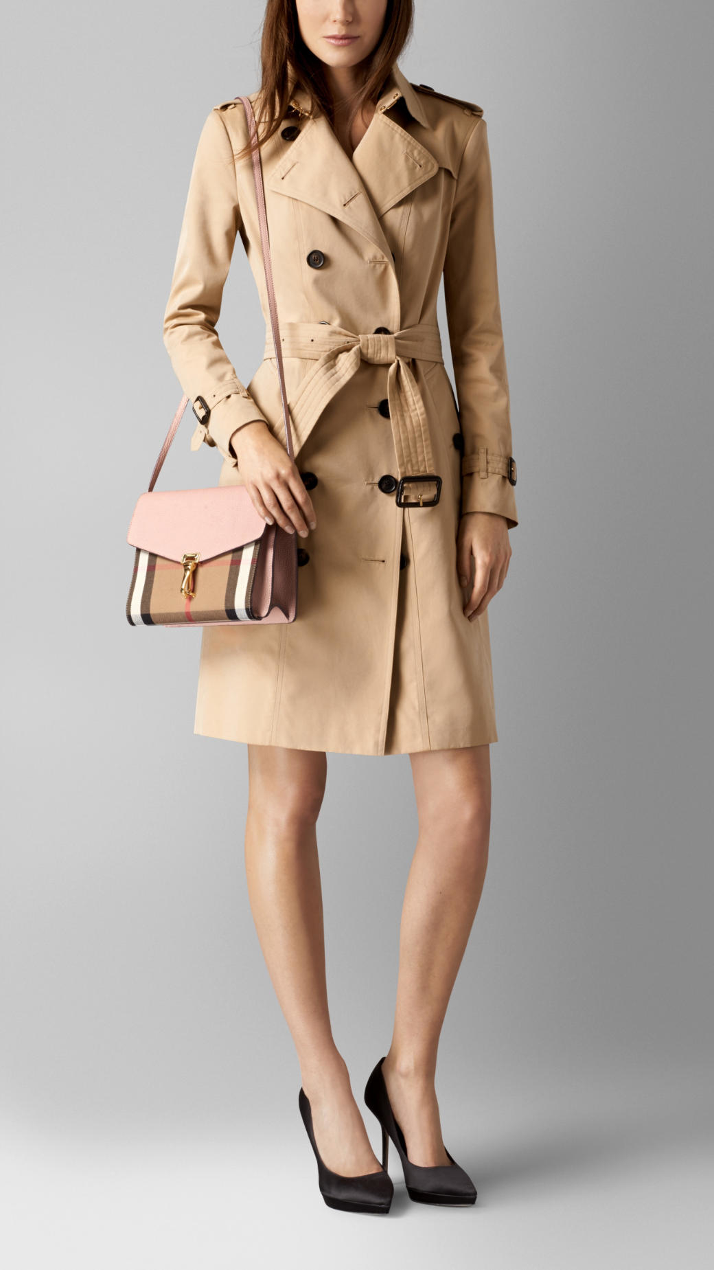 Lyst - Burberry Small Leather and House-Check Cross-Body Bag in Natural 790e46b322e2b
