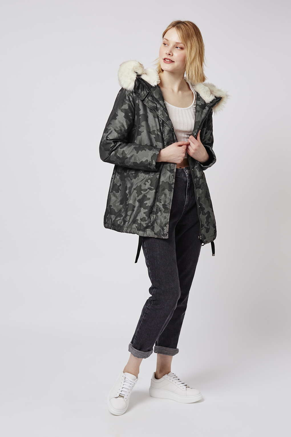 b4f40ab17b109 TOPSHOP Camo Faux-fur Lined Parka in Natural - Lyst