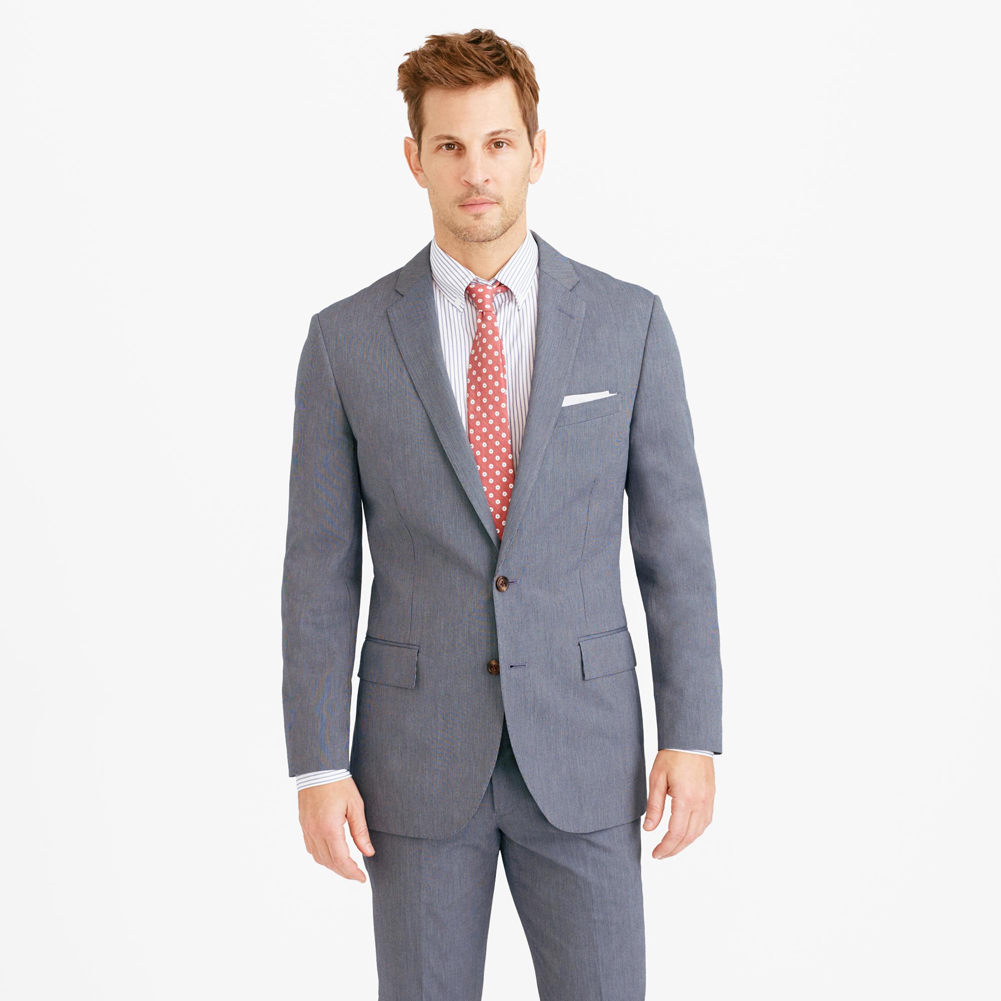 J.crew Ludlow Suit Jacket In Microstripe Italian Cotton in Blue