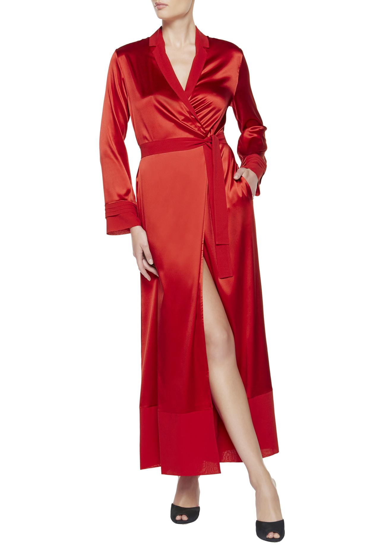 2018 New Sexy Women Black Red Lace Trim Satin Robe Mini ... |Red Silk Robe