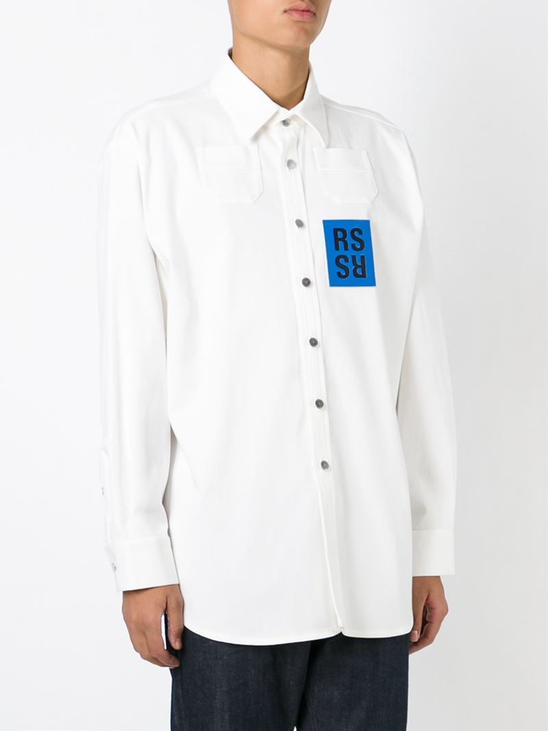 raf simons logo patch shirt in white for men lyst