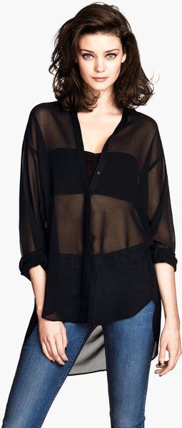 Womens Black Sheer Blouse 55