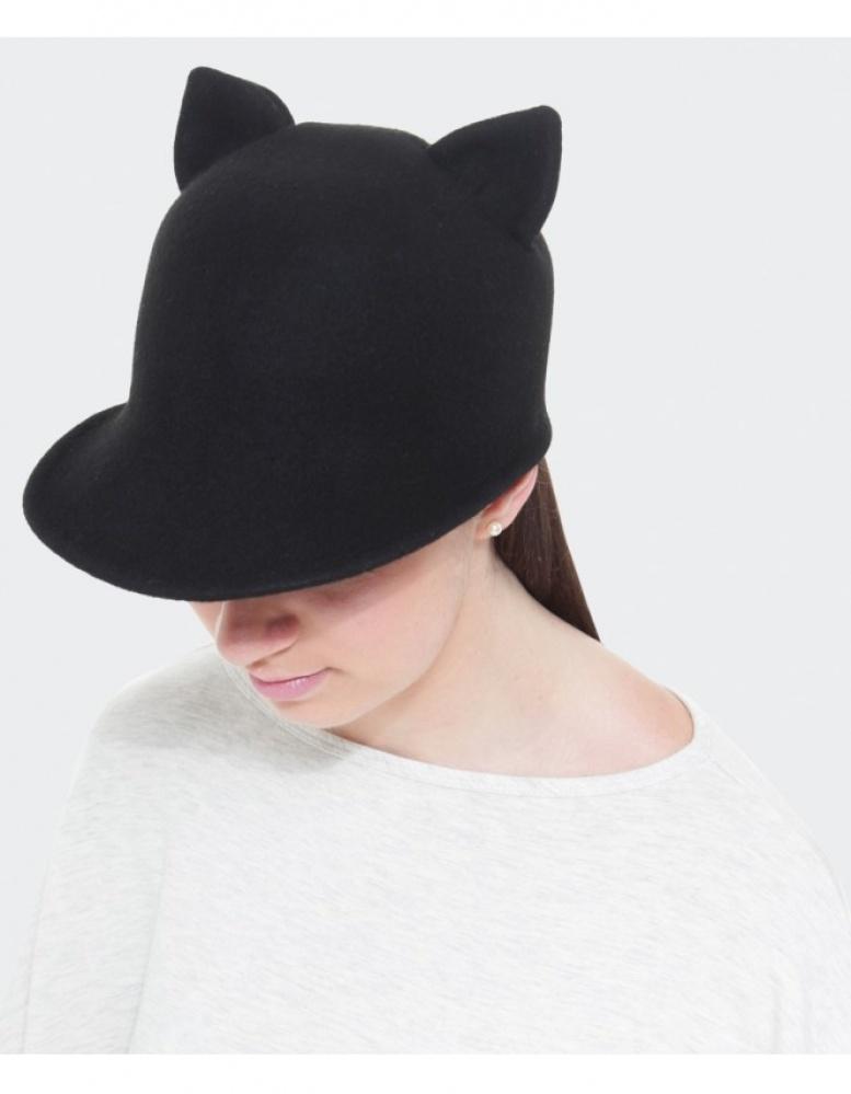 Lyst - Helene Berman Cat Ears Cap in Black 67282ba6f3b