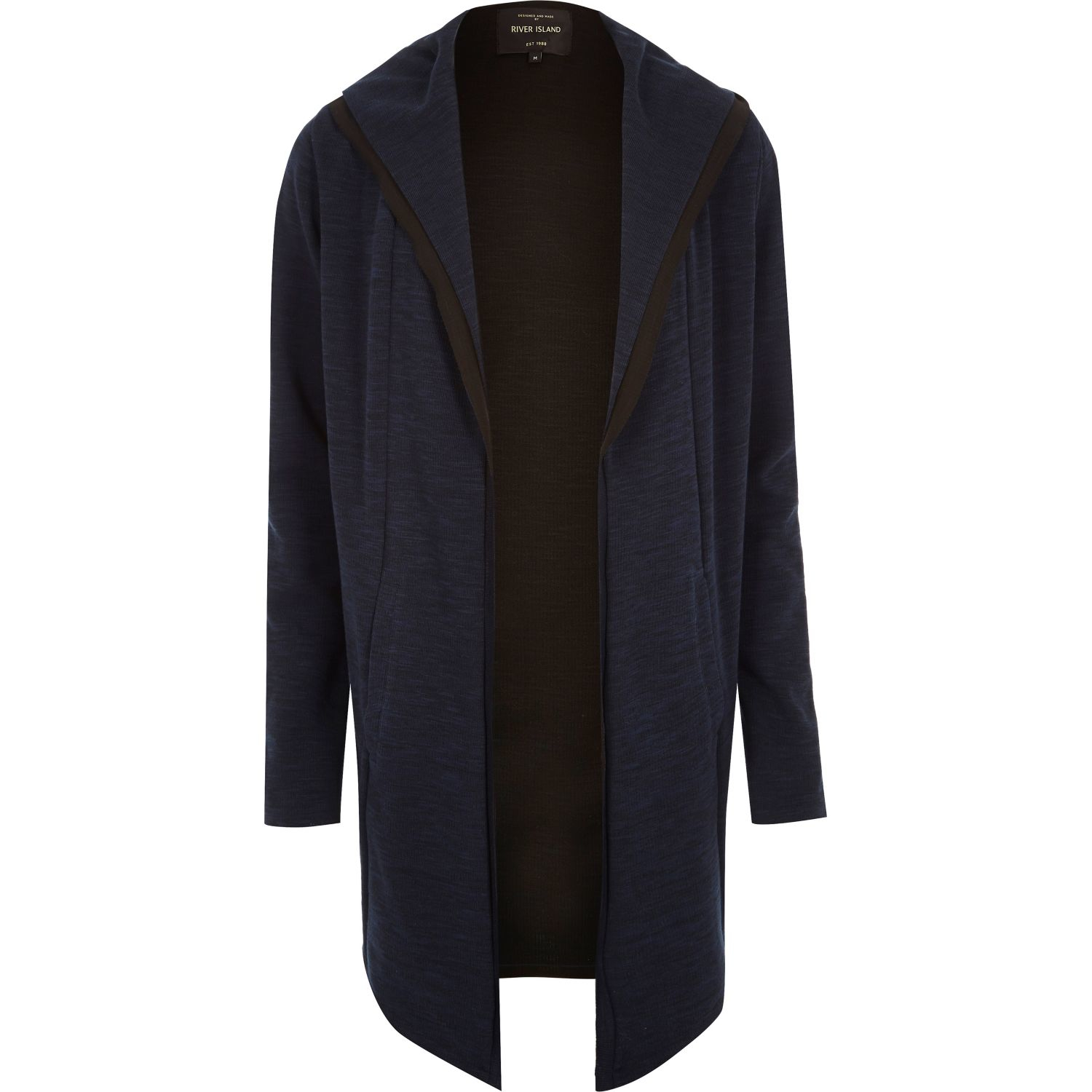 River island Navy Longline Waterfall Hooded Cardigan in Blue for ...