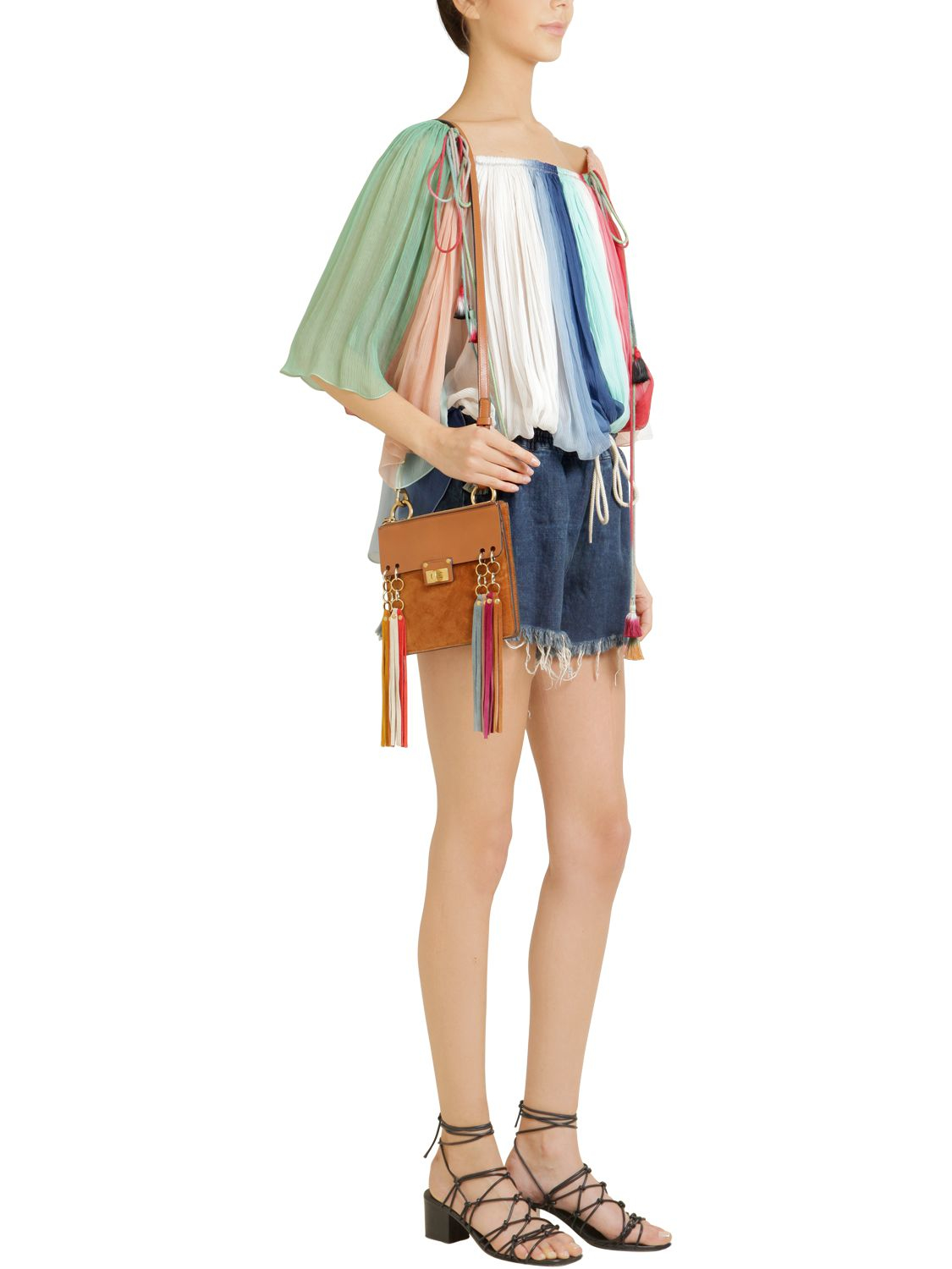 Chlo�� Jane Multicolor Tassels Leather Bag in Gold (BROWN) | Lyst