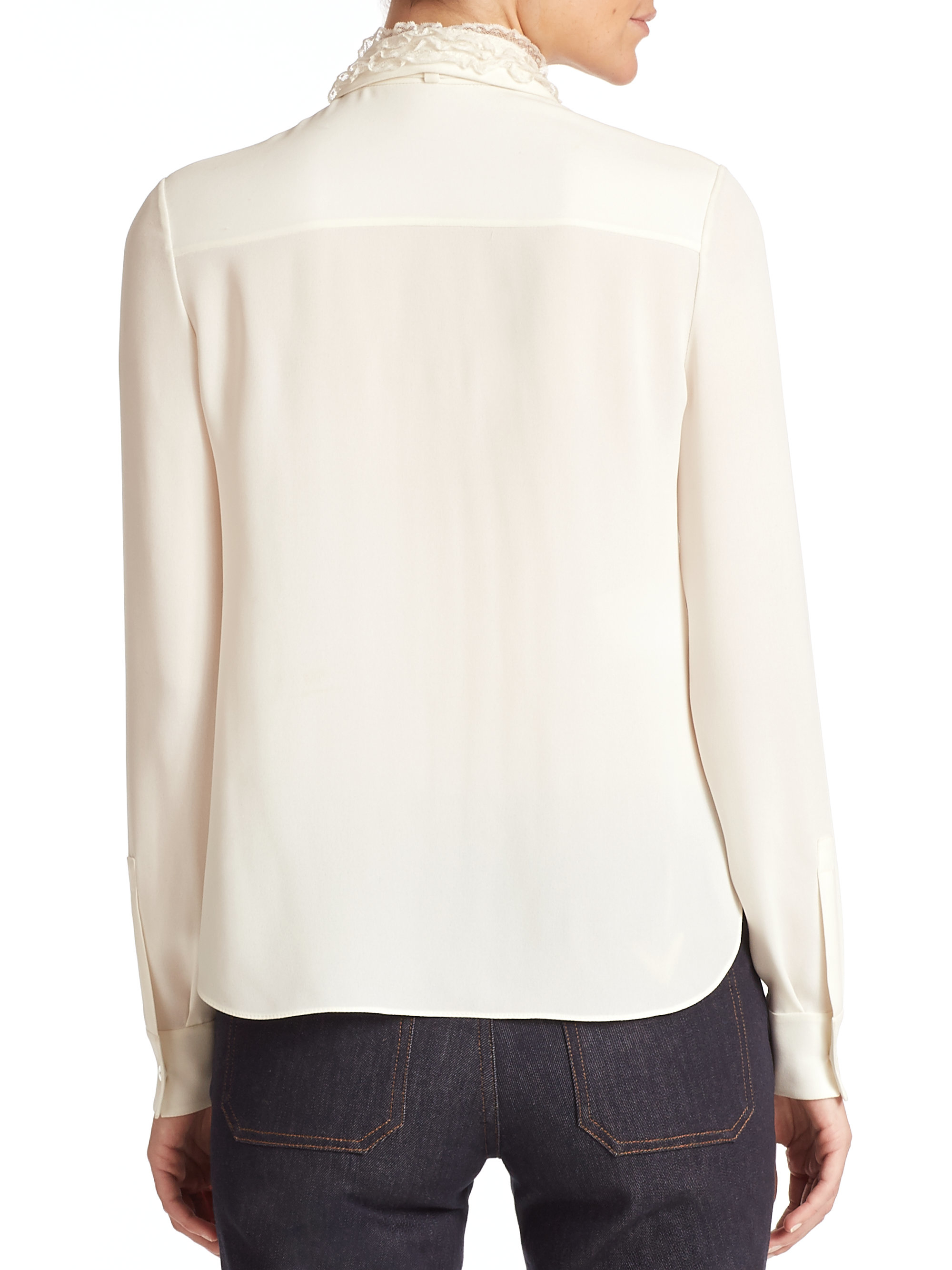 Lyst Valentino Silk Tie Front Blouse In Natural