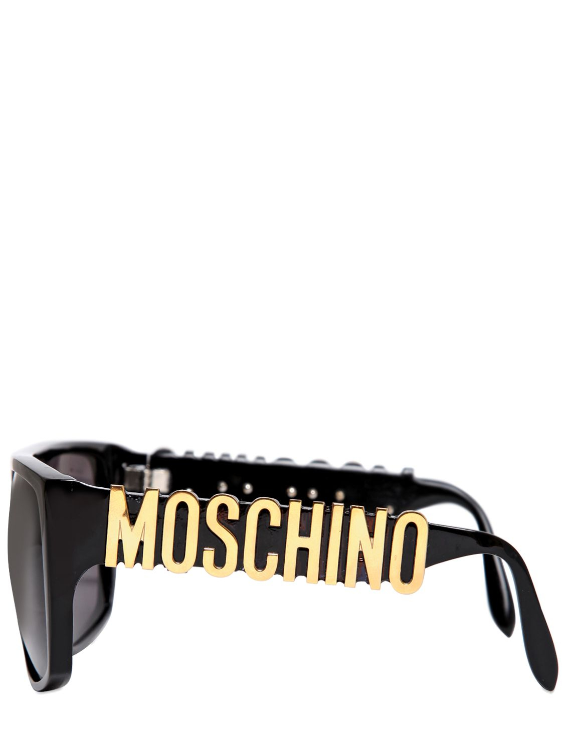Lyst Moschino Logo Lettering Sunglasses In Black