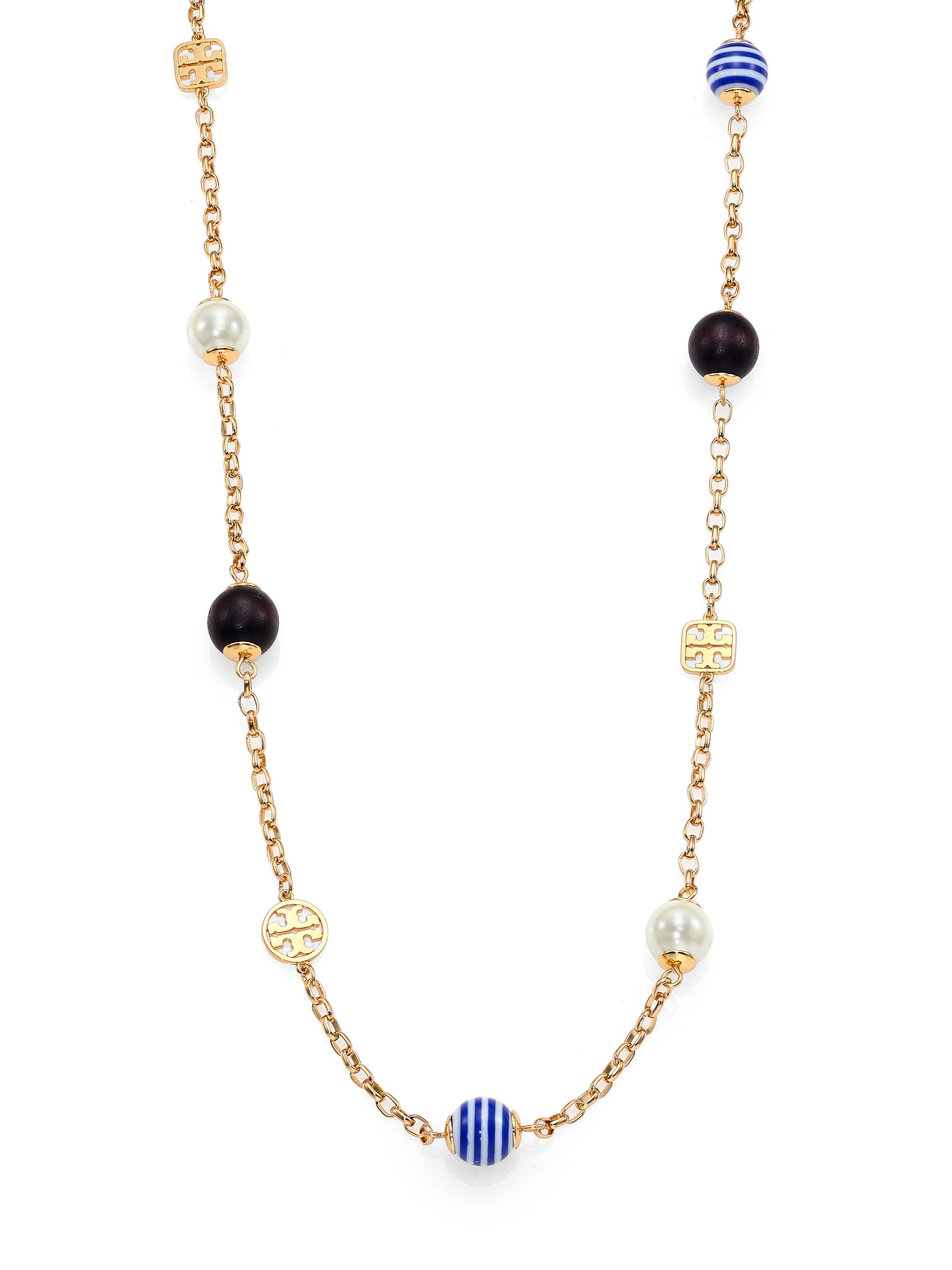 Lyst Tory Burch Saher Simple Mixed Bead Station Necklace