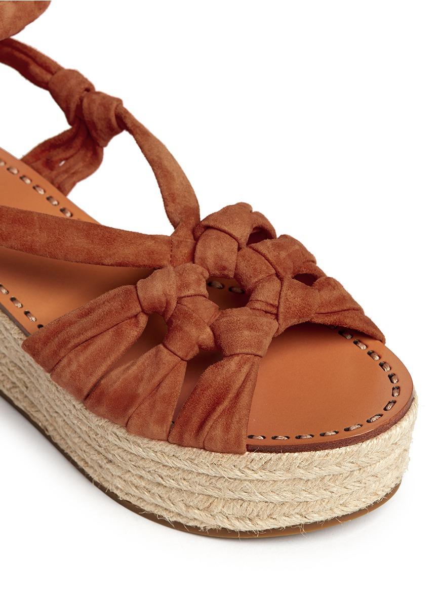 52e9b7a0887 Sigerson Morrison 'cosie' Suede Lace-up Espadrille Platform Sandals ...