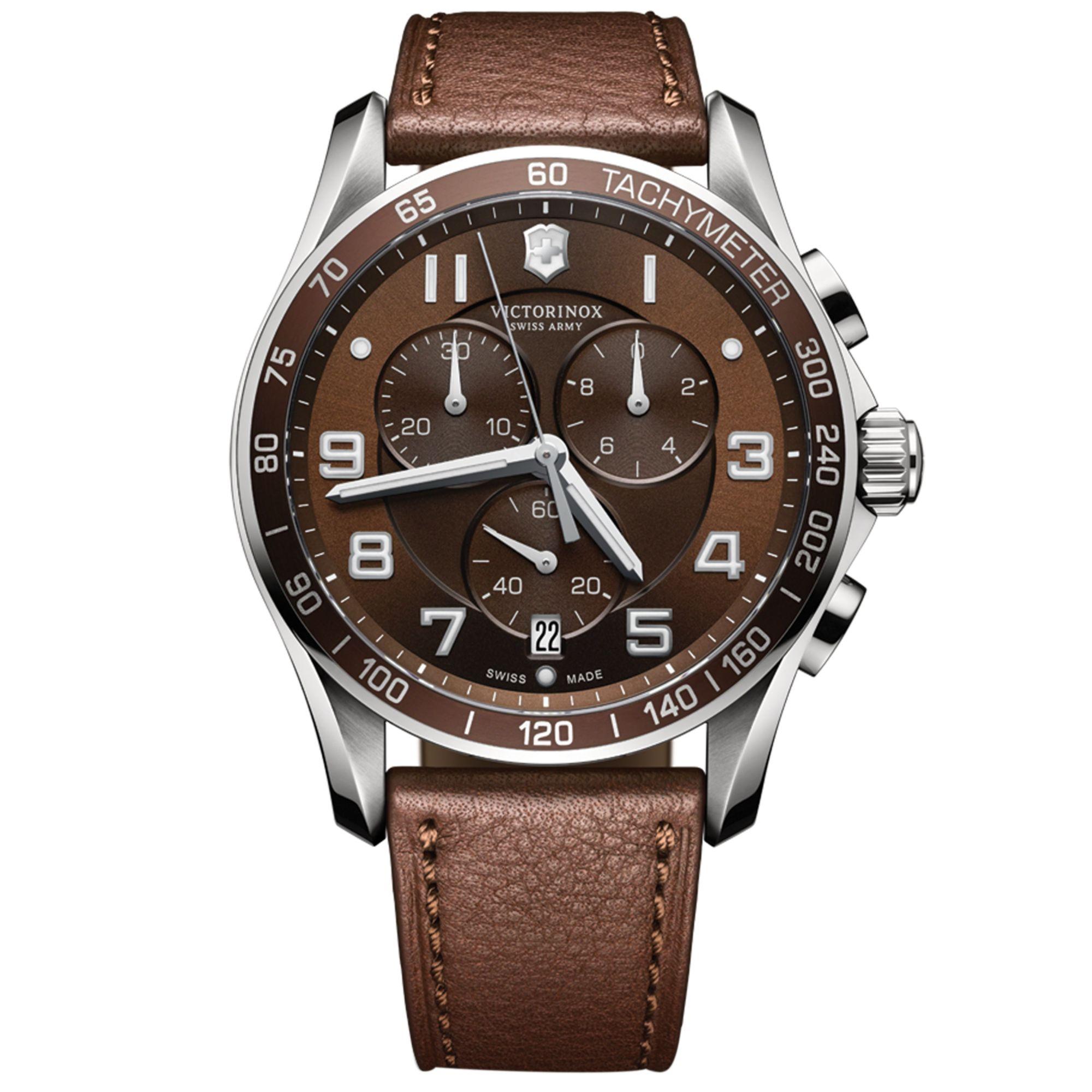 Victorinox Mens Chronograph Classic Xls Brown Leather