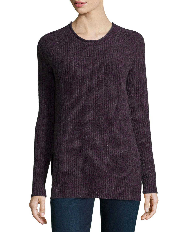 Autumn cashmere Shaker-knit Cashmere Crewneck Sweater in Purple (POTPOURRI) ...