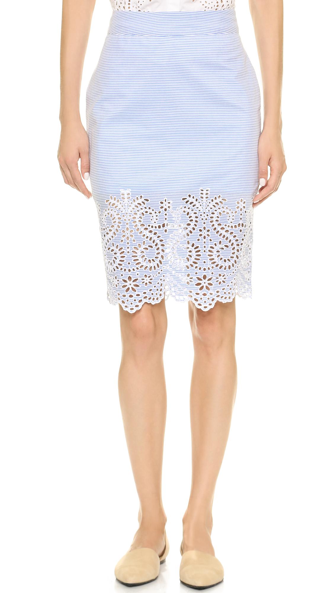 kayne pencil skirt blue white in blue lyst