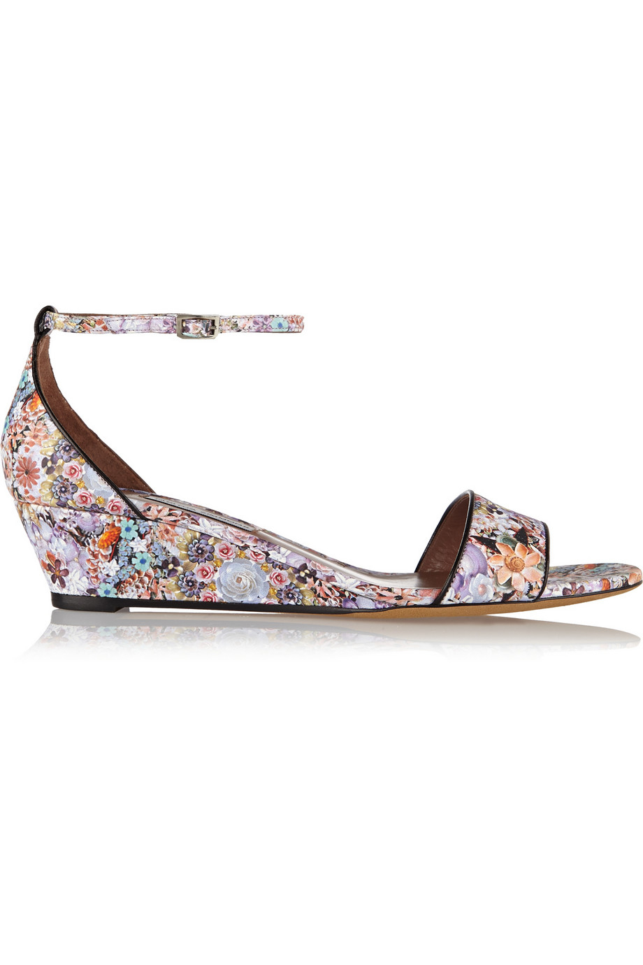 82360bf3930 Lyst - Tabitha Simmons Juniper Floral-print Leather Wedge Sandals in ...