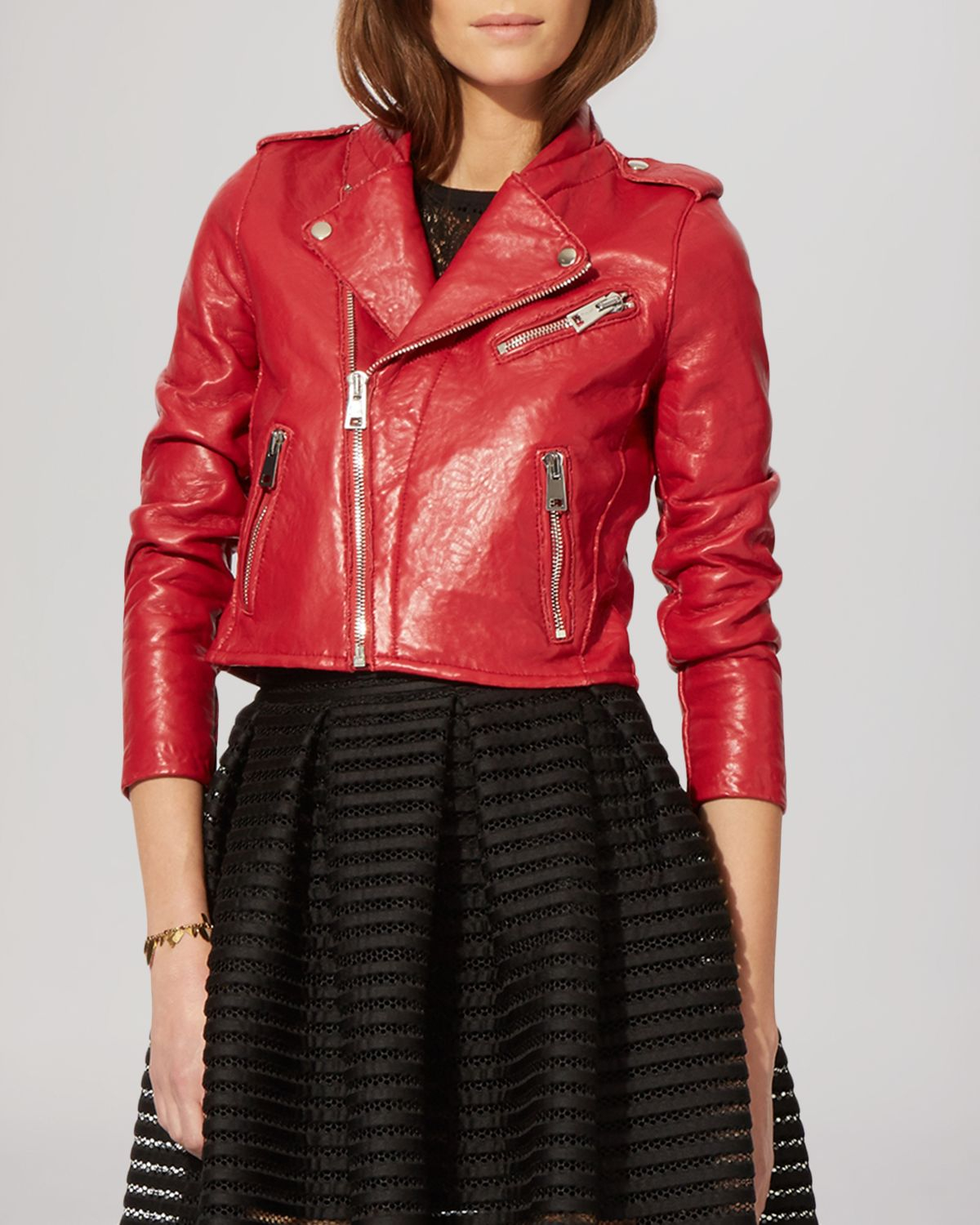 Maje Jacket - Bonnie Leather Moto in Red | Lyst