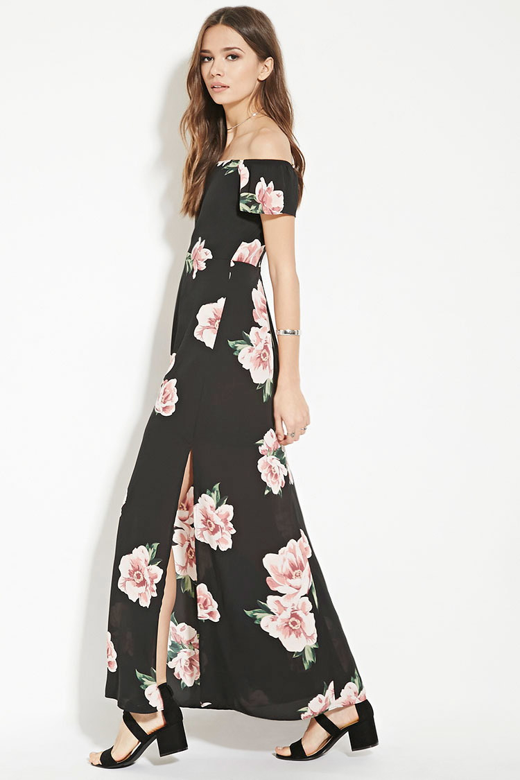 Lyst Forever 21 Contemporary Floral Maxi Dress In Black