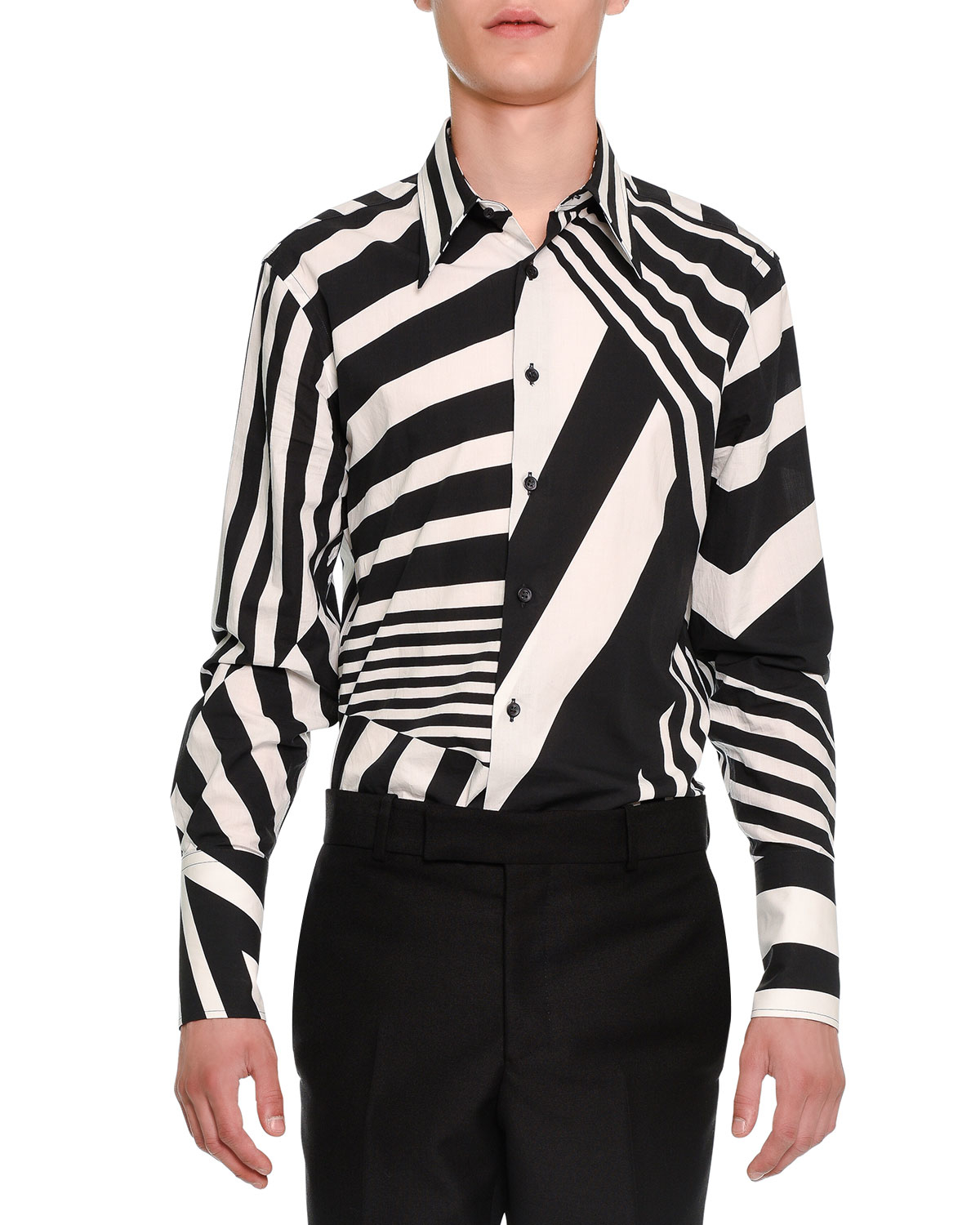 945a0572400 Lyst - Alexander McQueen Stripe-patched Button-down Shirt in Black ...