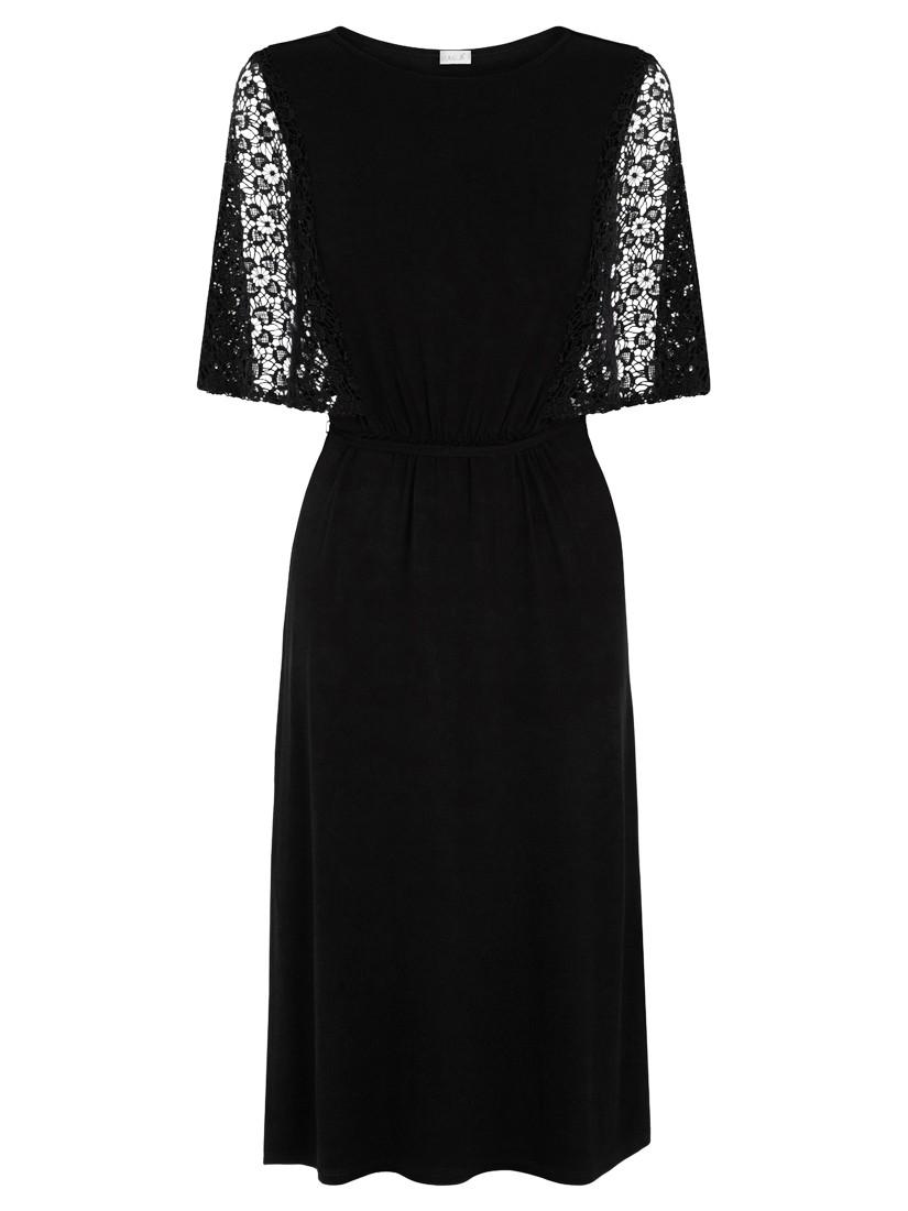 oasis lace sleeve victoriana midi dress in black lyst
