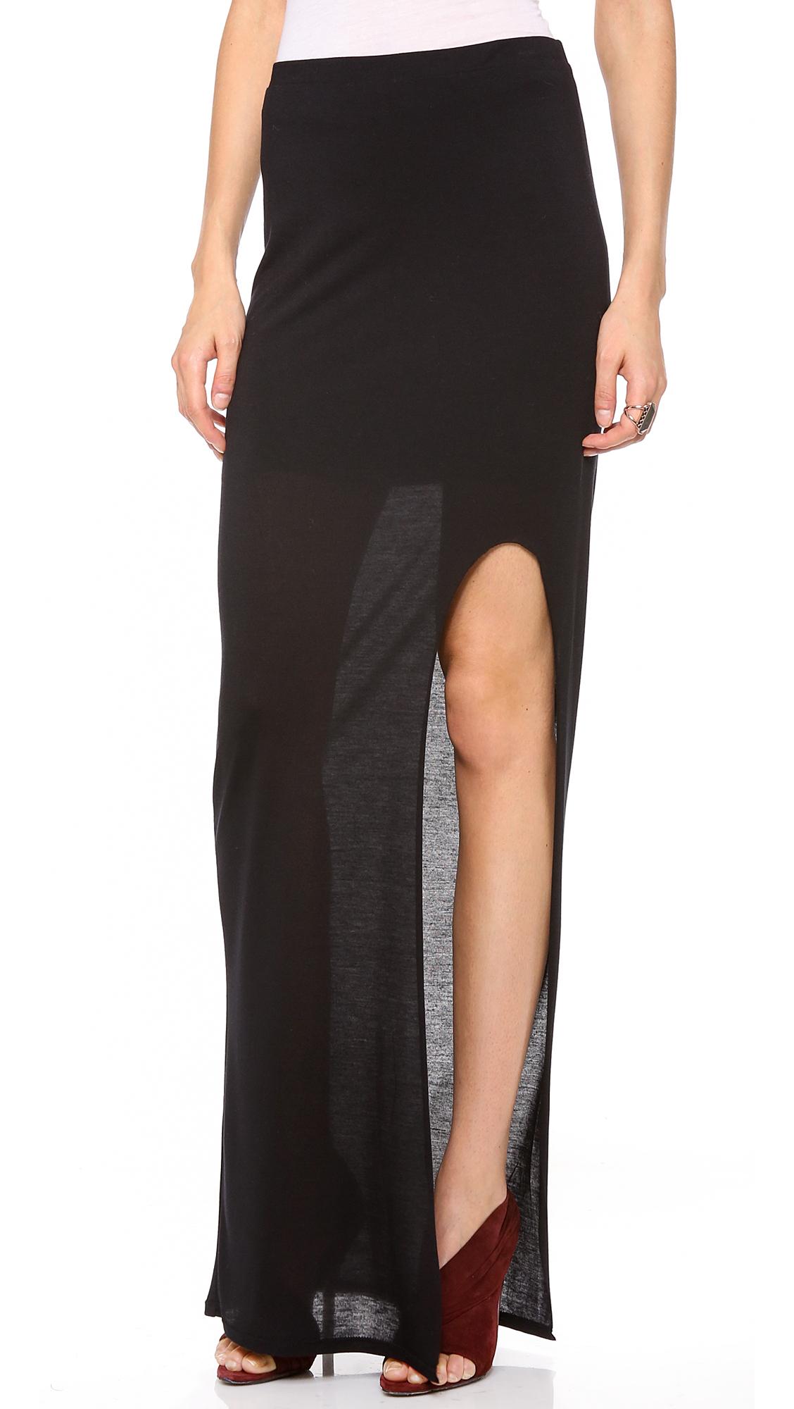 helmut helmut lang kinetic side slit maxi skirt in black