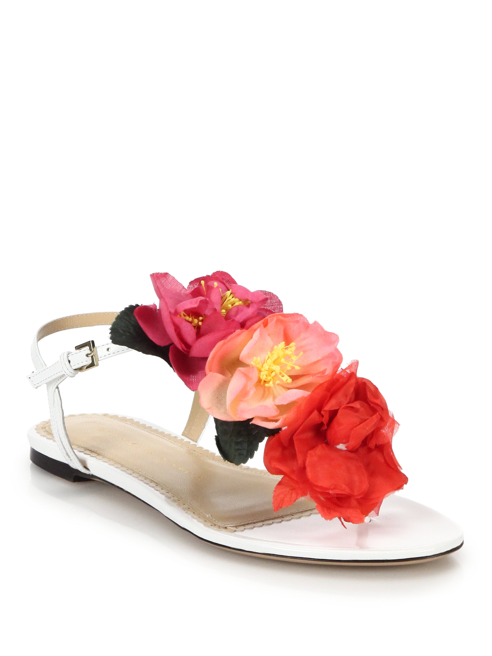 Lyst Charlotte Olympia Rosario Crepe Flower Embellished Leather