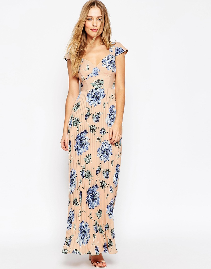 Asos wedding lace back pleated maxi print dress in for Print maxi dress for wedding