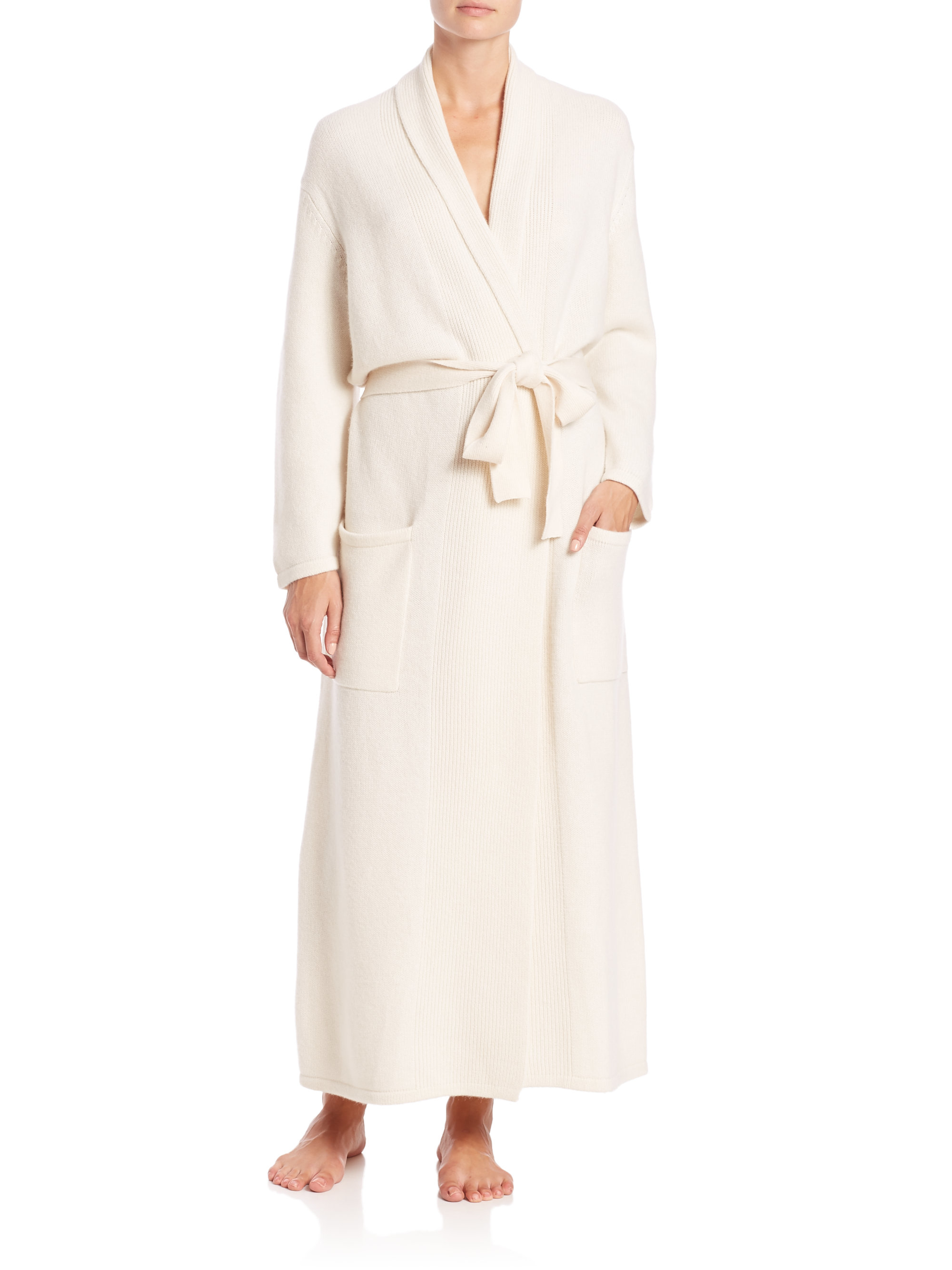 Saks fifth avenue cashmere robe in white lyst for Saks 5th avenue robes de mariage