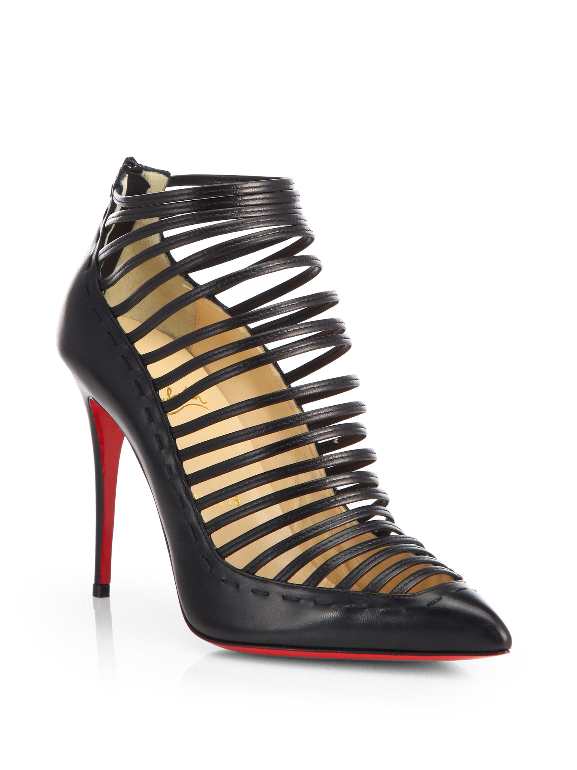 christian louboutin snakeskin ankle boots Black pointed toes ...