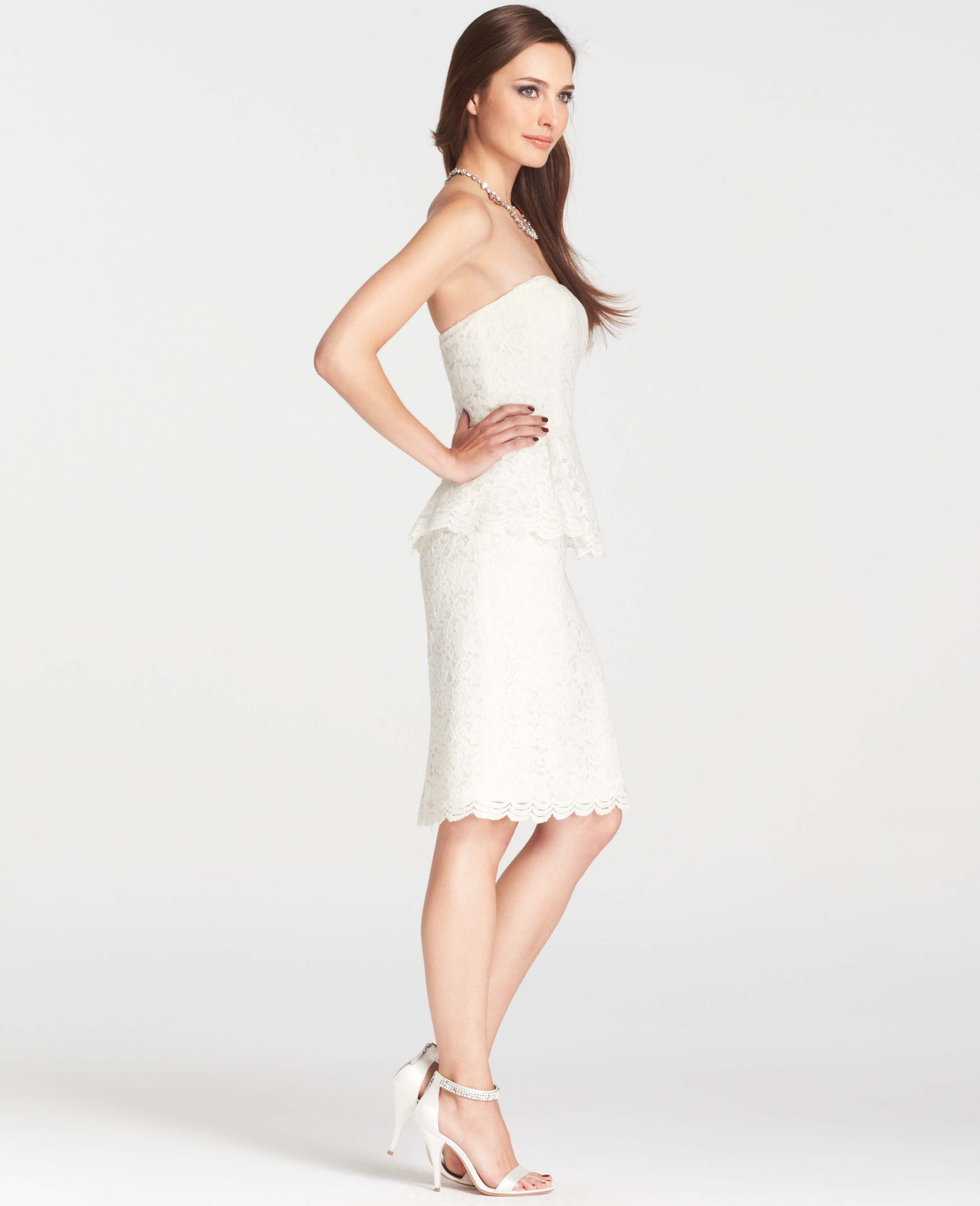 Lyst - Ann Taylor Petite Strapless Lace Peplum Dress in White