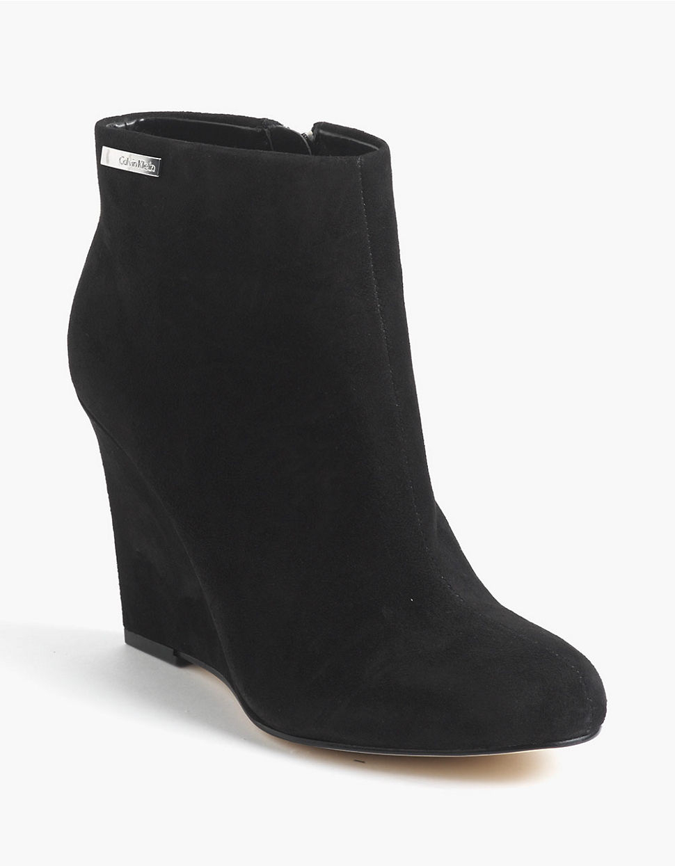 calvin klein cena suede wedge ankle boots in black lyst