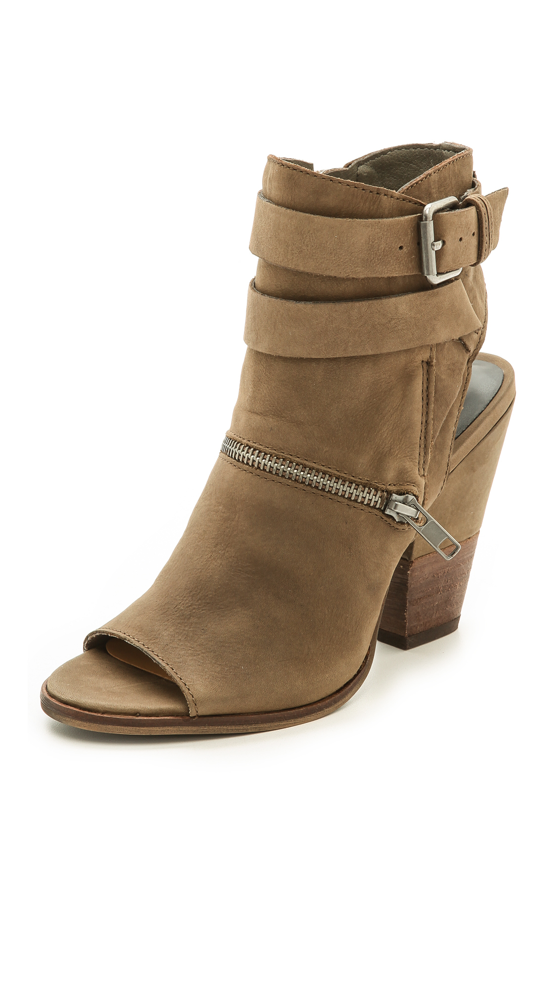 Dolce Vita Nayla Open Toe Booties Moss In Brown Moss Lyst