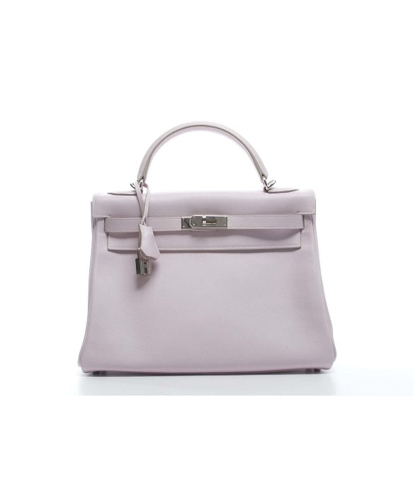 Herm��s Pre-owned Rose Dragee Swift Leather Kelly 28 Bag in Pink | Lyst