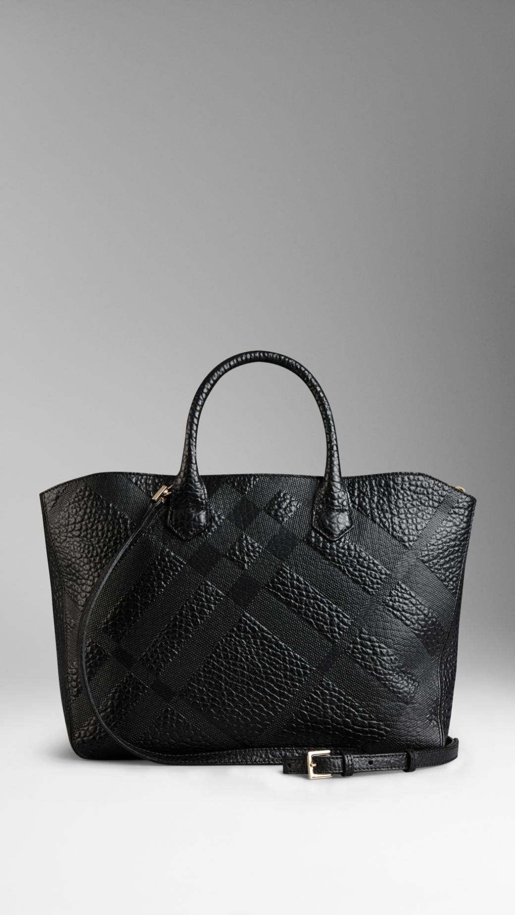 Burberry Medium Embossed Check Leather Tote Bag In Black