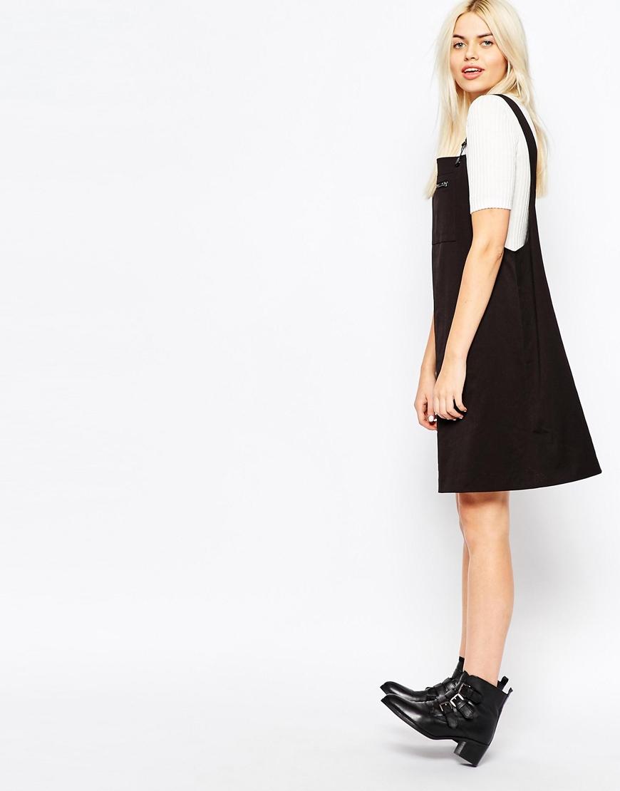 wide range drop shipping outlet store Monki Black Dungaree Dress