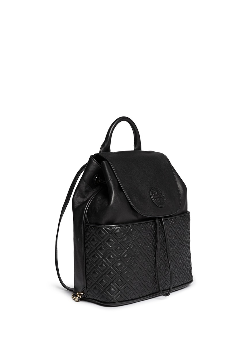 4ae8250b0d Lyst Tory Burch Marion Quilted Leather Backpack In Black