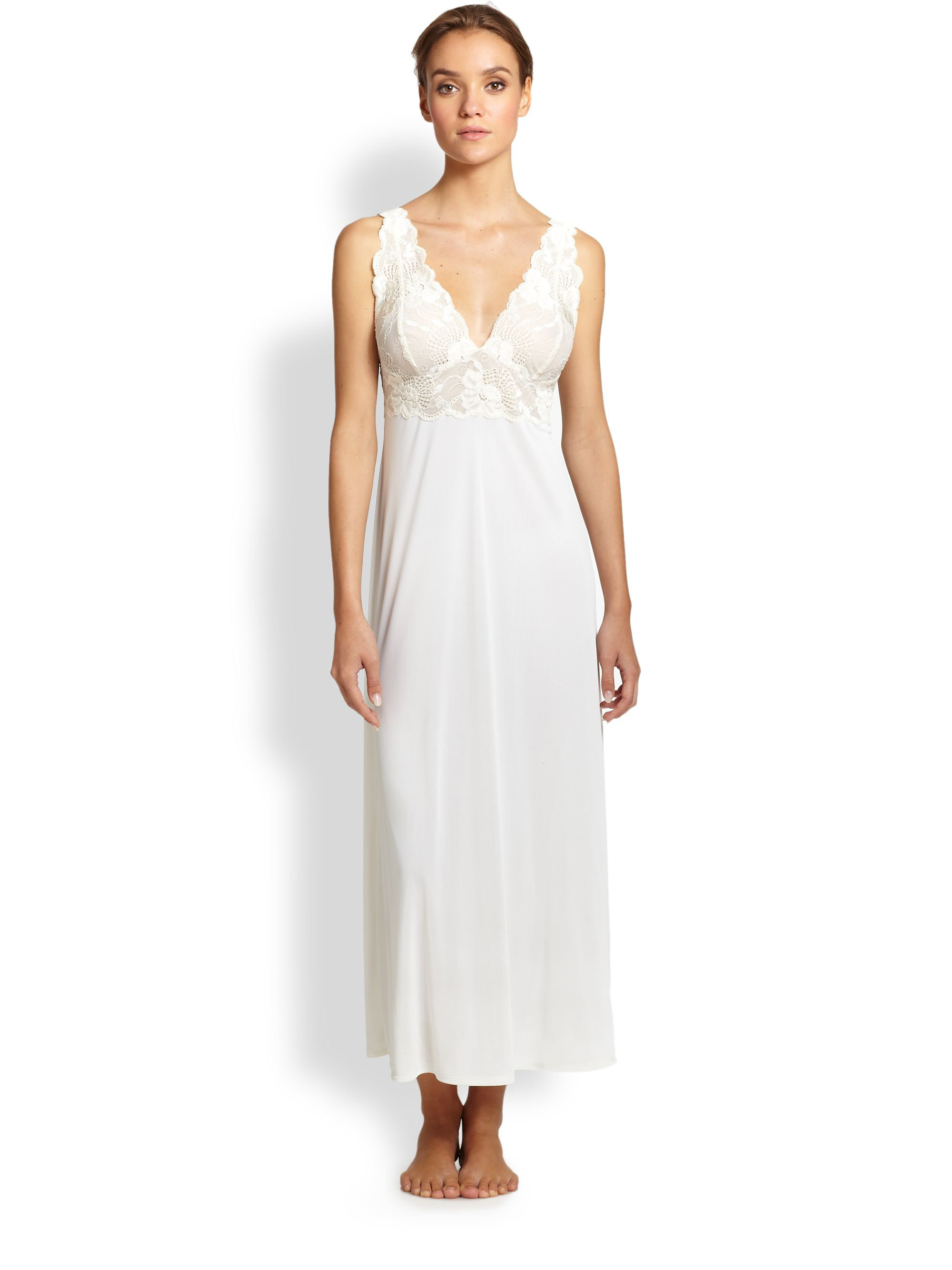 Lyst - Natori Zen Floral Lace-trim Gown in White