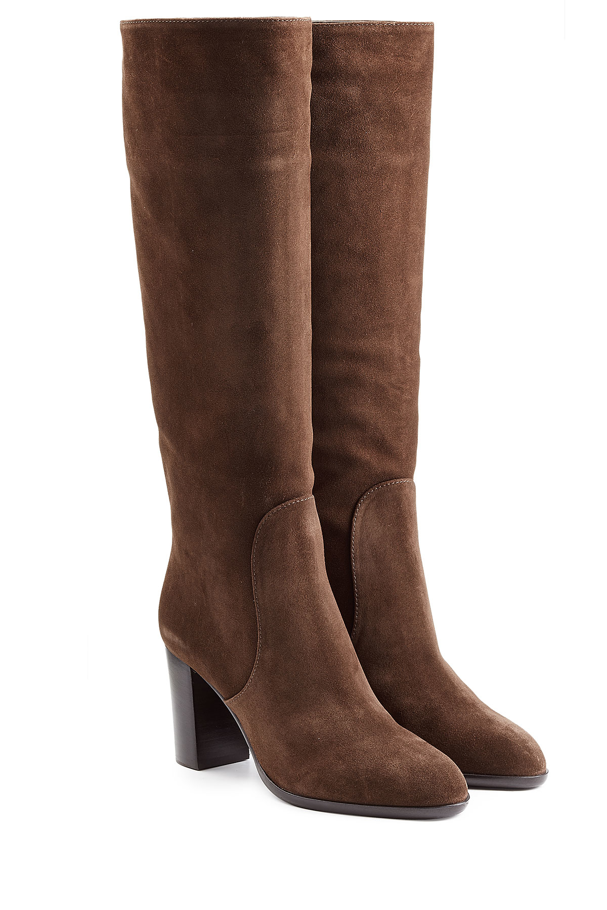 sergio suede knee boots brown in brown lyst