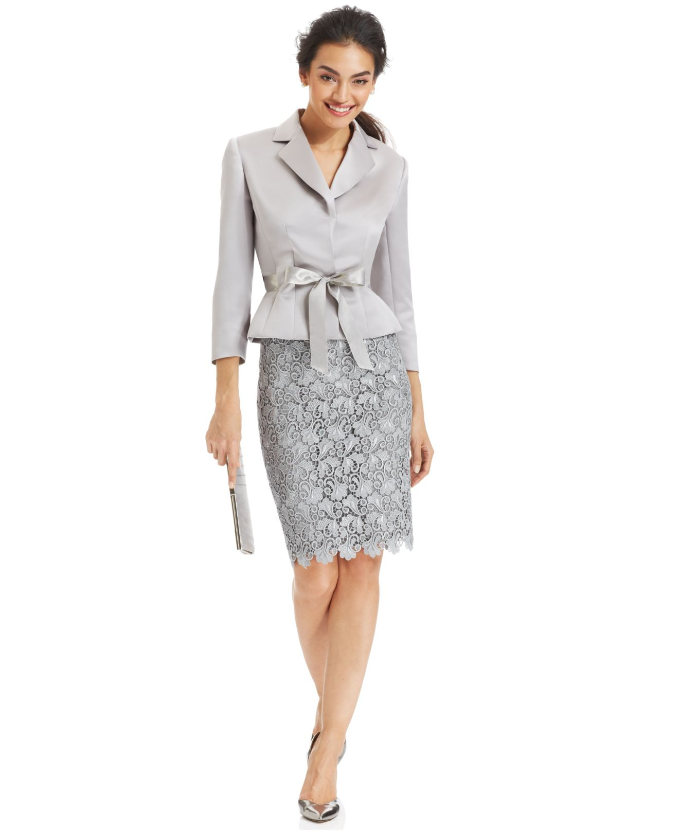 Lyst tahari belted jacket lace skirt suit in gray for Womens dress jacket wedding