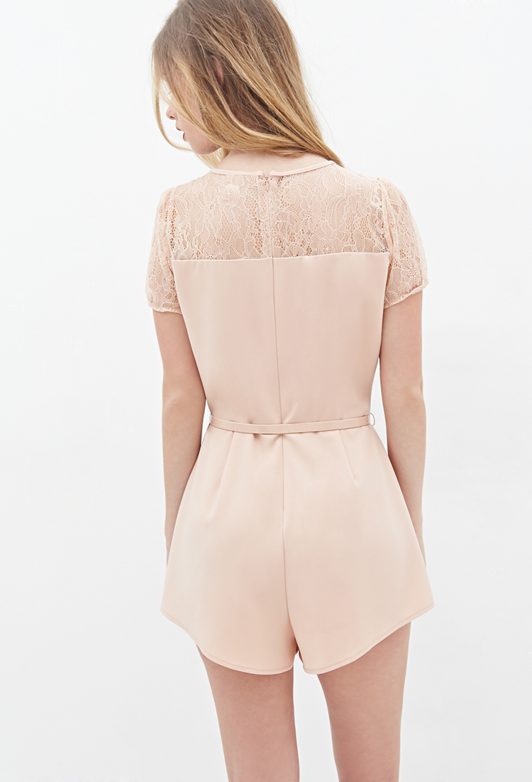 6c12e965bc5 Lyst - Forever 21 Pintucked Floral Lace Romper