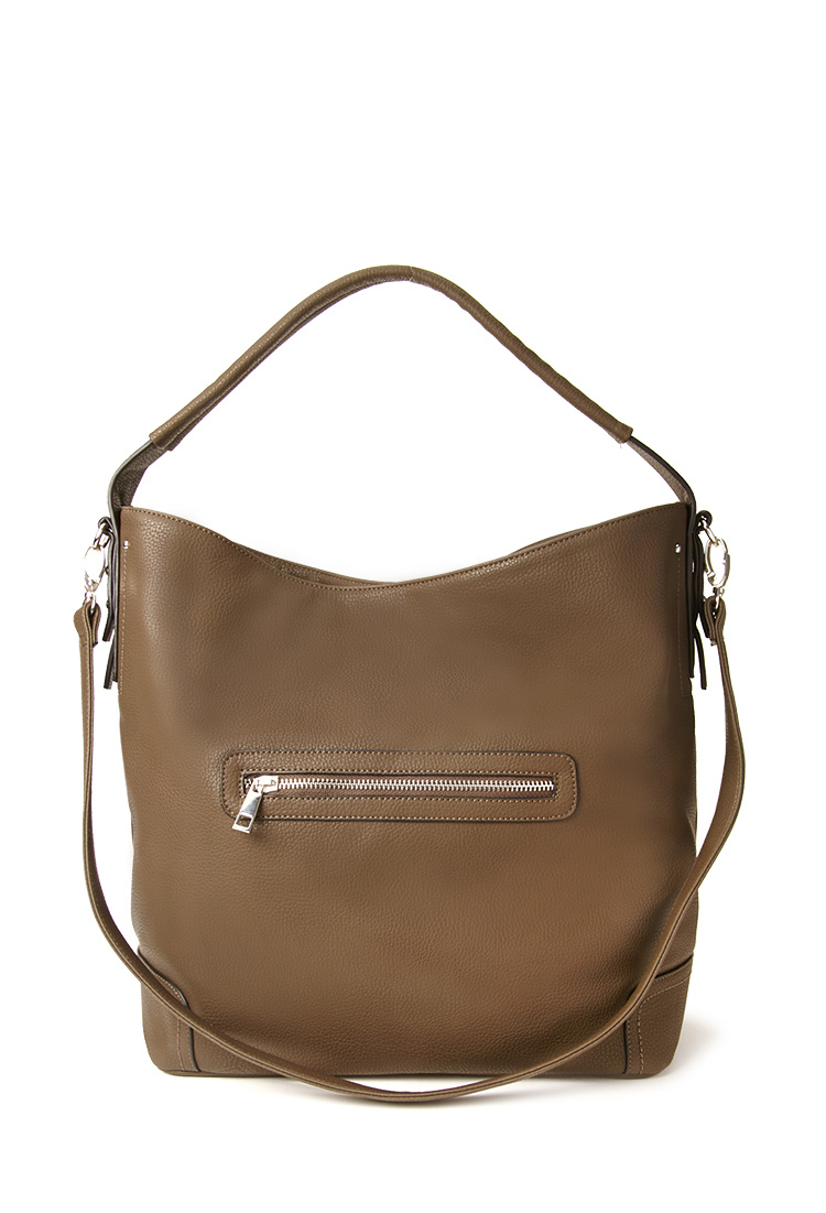 Forever 21 Pebbled Faux Leather Shoulder Bag in Brown | Lyst