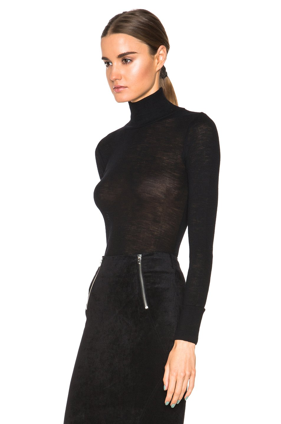 t by alexander wang sheer wooly rib fitted turtleneck in