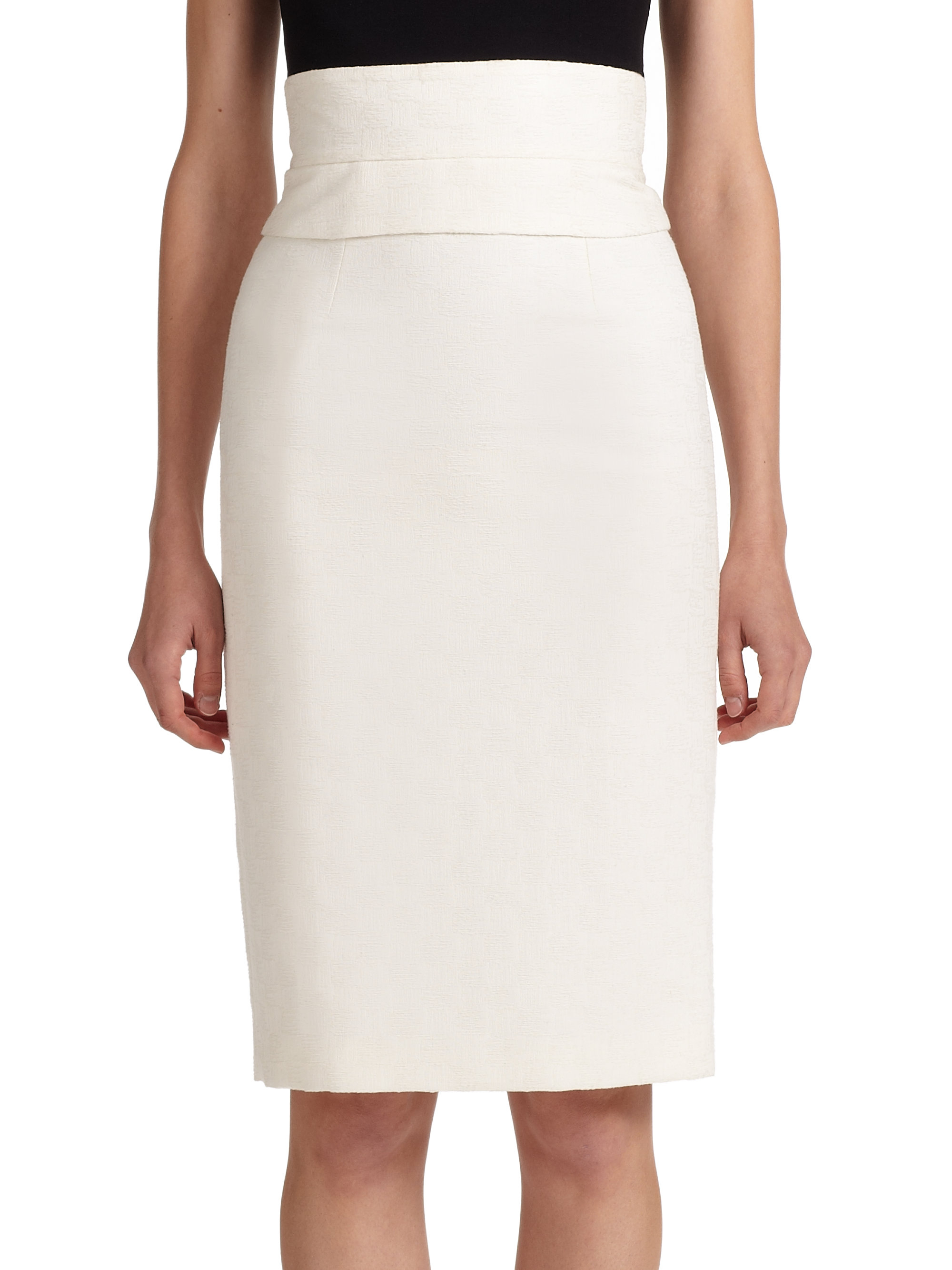 Carolina herrera High-waist Pencil Skirt in White | Lyst