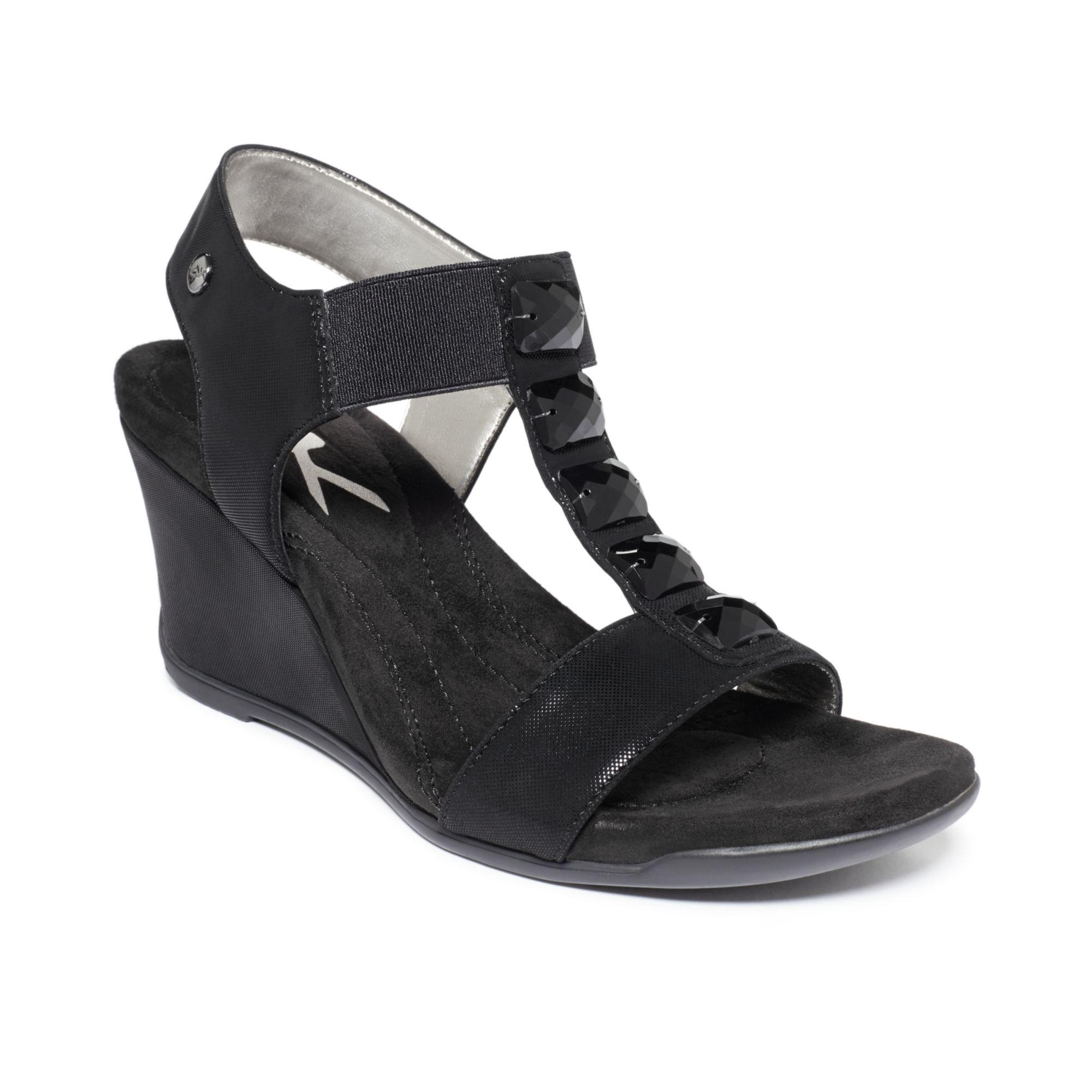 d02c5c2b88d Lyst - Anne Klein Lofty Sport Wedge Sandals in Black