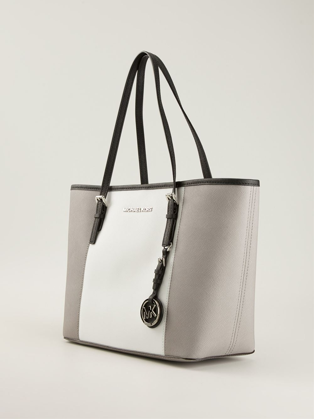 lyst michael michael kors small jet set travel tote in gray. Black Bedroom Furniture Sets. Home Design Ideas