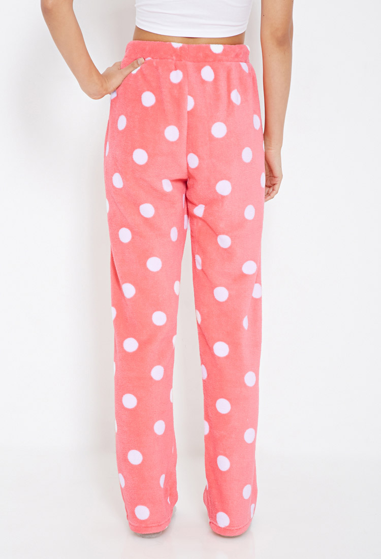 Lyst Forever 21 Plush Polka Dot Pj Pants In Pink