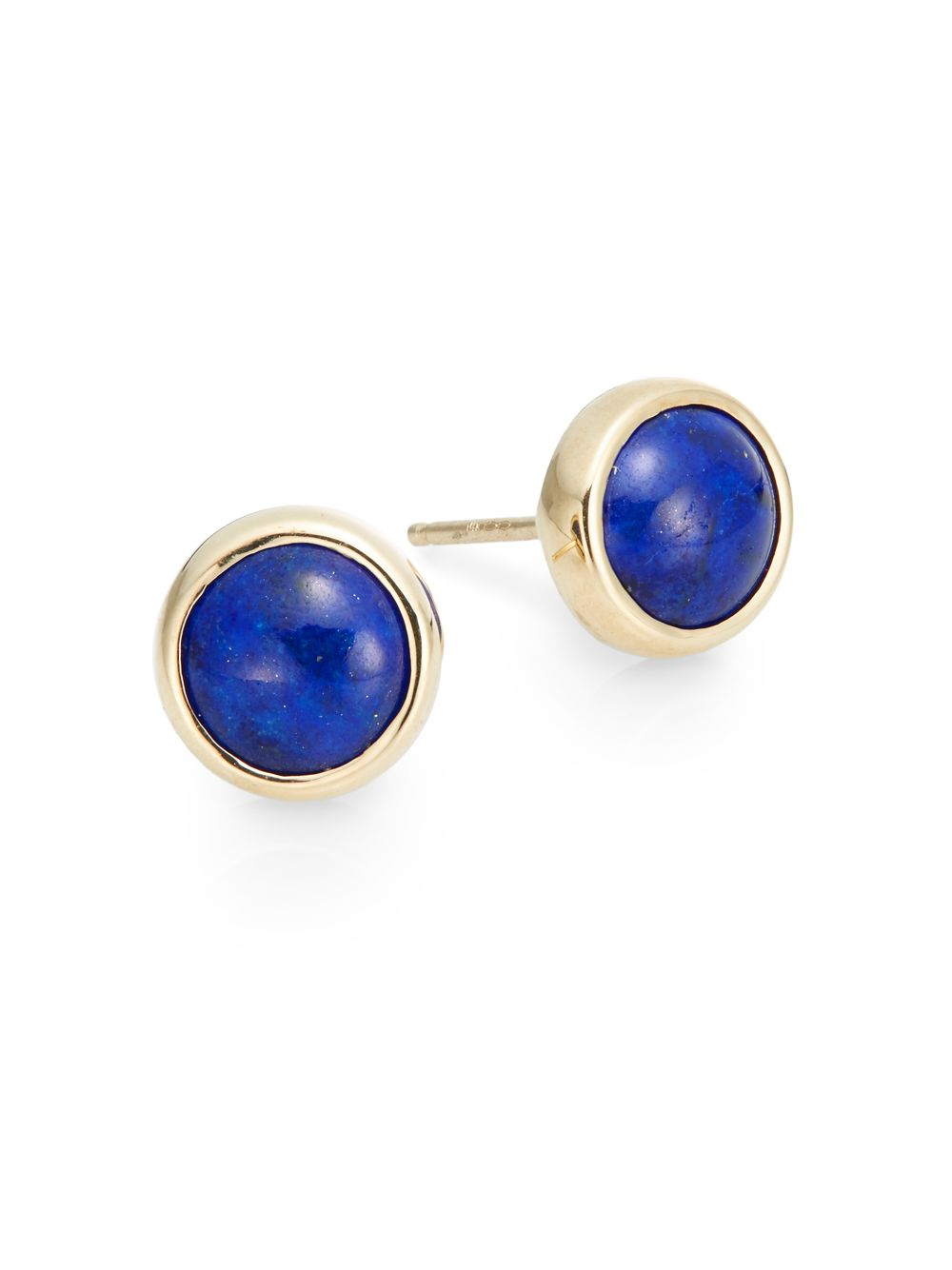 yellow stud lapis gallery lyst gold normal jewelry classique product blue earrings in anzie