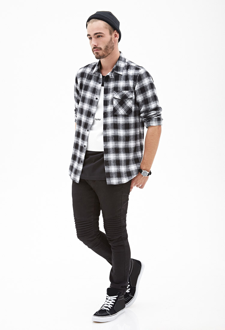 Forever 21 blurred plaid flannel shirt in black for men lyst for How to wear men s flannel shirts
