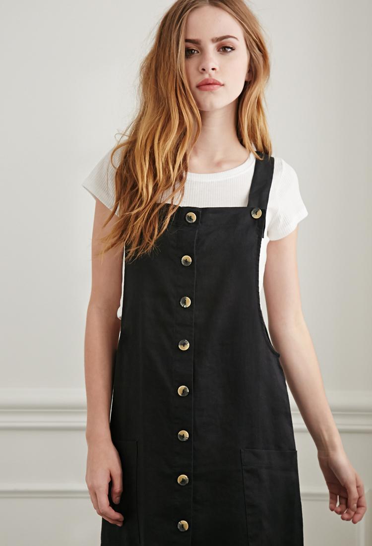 Black Overall Dress Forever 21 Linen Overa...