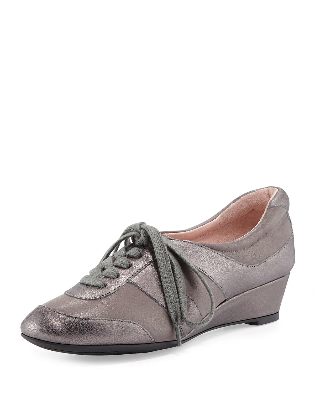 87210f66587c Taryn Rose Parisa Metallic Lace-up Sneaker in Gray - Lyst