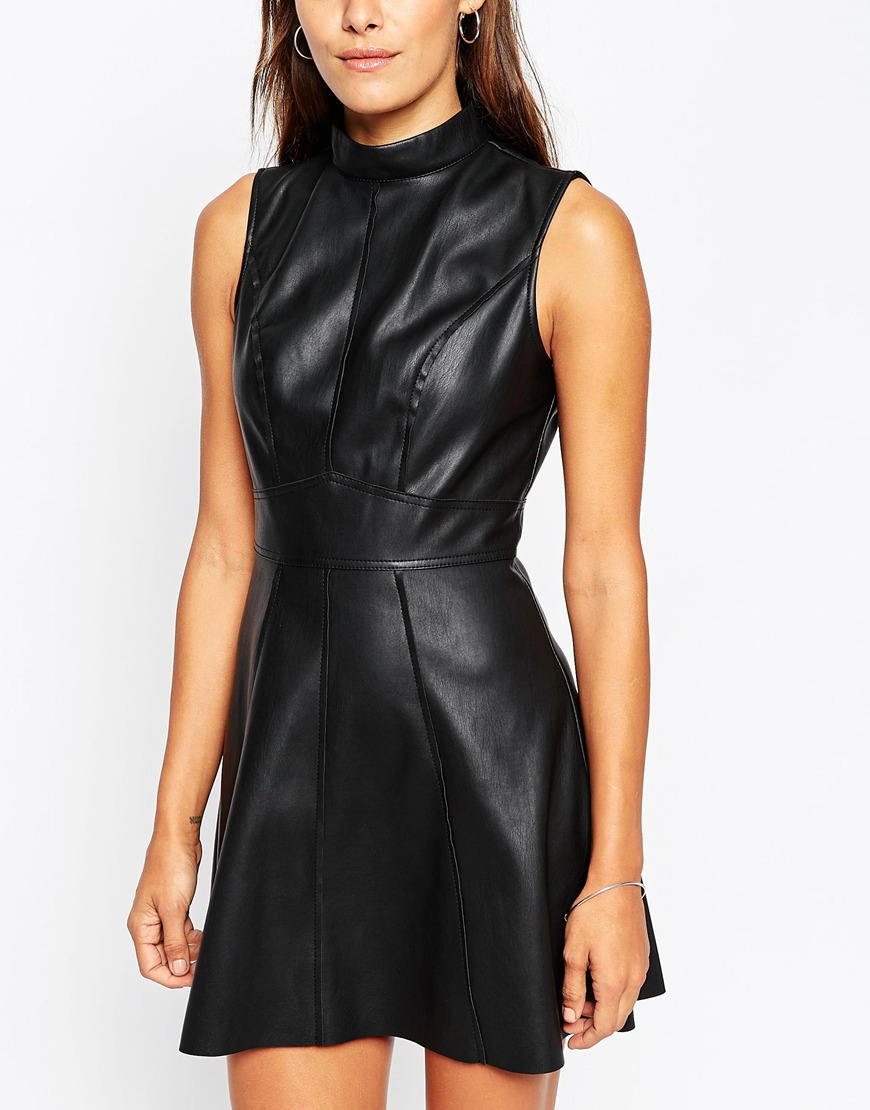Asos Skater Dress In Leather Look With High Neck In Black