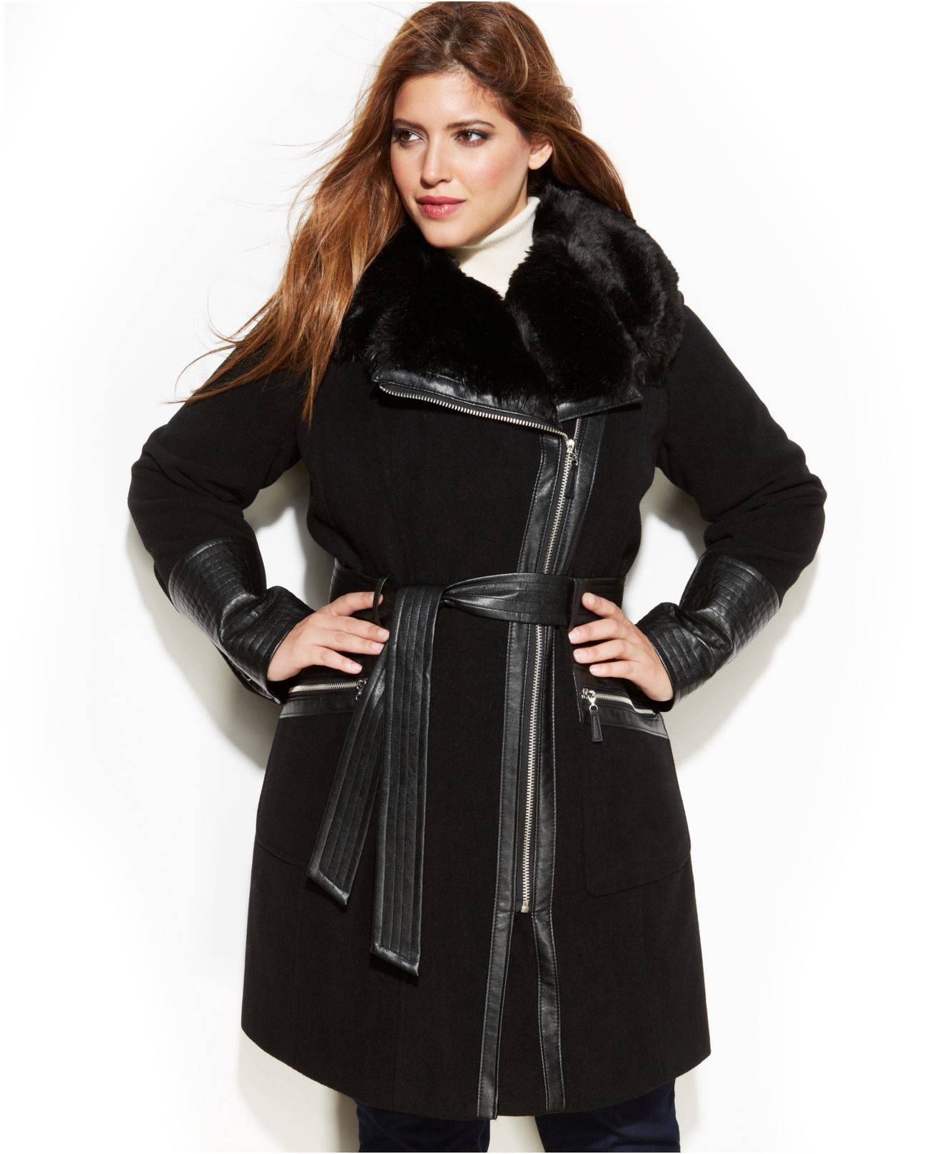Via spiga Plus Size Mixed Media Faux-Fur-Trim Belted Wool Coat in ...